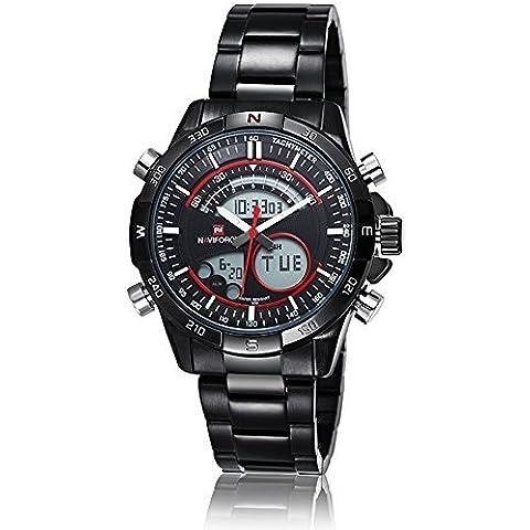 pkaty Mens Sport LED analogico-digitale orologio al quarzo, in acciaio inox vita/alarm-red