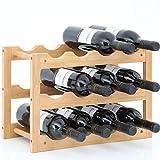 Gräfenstayn® 30550 cremagliera del vino VERONA - impilabile in legno di bambù per 12 bottiglie di vino - Dimensioni 42x21x28 cm (LxWxH) gabbie per bottiglie di vino caso del vino