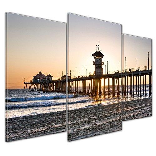 Wandbild - Huntington Beach - Kalifornien - Bild auf Leinwand - 100x60 cm dreiteilig - Leinwandbilder - Urlaub, Sonne & Meer - Amerika - Sonnenaufgang - Sonnenuntergang