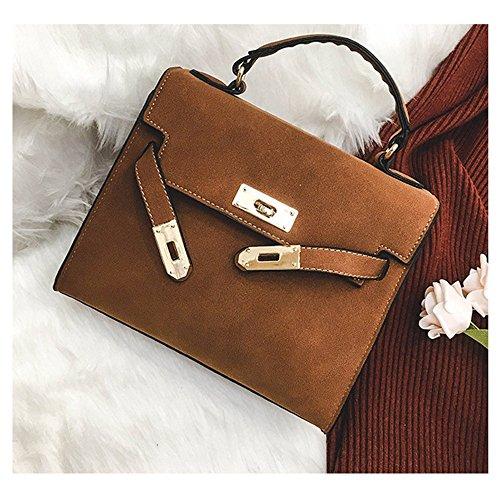 Metallische Lock Persönlichkeit Wild Schultertasche Diagonal Paket Matt kleine Quadratische Tasche Travel Bag's Handtasche, Grün Braun