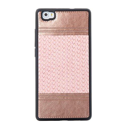 Cover Per Huawei P8 Lite, Asnlove TPU Moda Morbida Custodia Linee Intrecciate Caso Elegante Ultra Sottile Cassa Braided Stile Tessere Case Bumper Per Huawei P8 Lite - Rosa Rosa