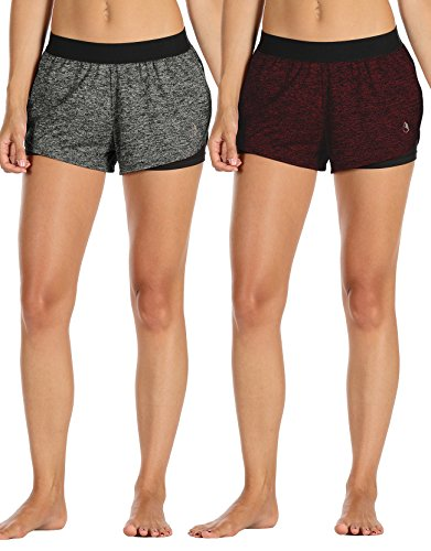icyzone Damen Kurze Sport Hose Running Gym Workout Shorts 2 in 1 (S, Charcoal/Wine)
