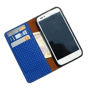 i-KitPit PU Leather Wallet Flip Case for Lenovo P780 (BLUE)