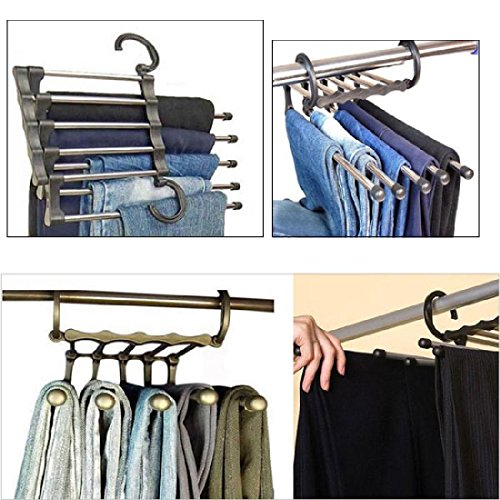 Holder Storage - Home Stainless Steel Tube Pants Rack Retractable Magic Clothes Trouser Holder Storage Hanger - Watch Storage Band Organizer Trouser Holder Puzzle Hanger Case Potato