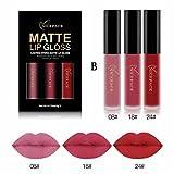 Lippenstift, HARRYSTORE 3PCs Frauen Mode Wasserdichter Matte Liquid Lipstick Feuchtigkeitsspendende Lip Gloss Kit (F)