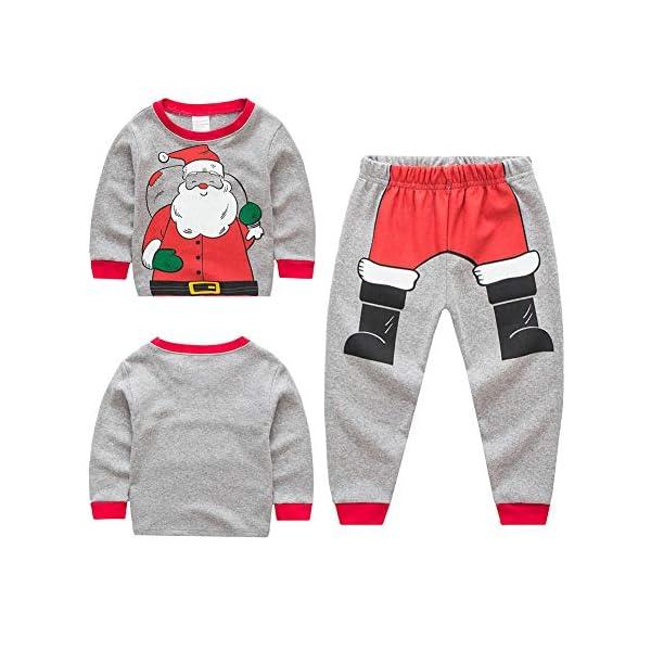 Miyanuby Pijamas Bebés Niño Niñas Pijamas Navideños de Algodón Camiseta de Manga Larga de Papá Noel + Pantalones, 2-7… 2