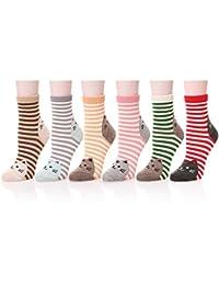 DSUK Womens Cute Cat Footprint Striped Cozy Socks Winter Warm Novelty Animals Cartoon Design Elastic Crew Ankle Calf Socks