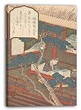 Yashima Gakutei - Ein Weiser, eingeschlafen über seine Bücher (Edo period (1615–1868)), 70 x 100 cm (weitere Größen verfügbar), Leinwand auf Keilrahmen gespannt und fertig zum Aufhängen, hochwertiger Kunstdruck aus deutscher Produktion