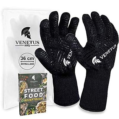 VENETUS-BBQ Grillhandschuhe hitzebeständig bis 500 °C | 1 Paar | extra lange & feuerfeste Ofenhandschuhe und Topfhandschuhe für die Küche | 36 cm