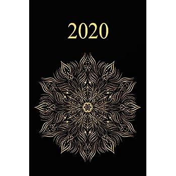 2020: Agenda semainier  2020 -   Calendrier des semaines 2020  - Turquoise pointillé - Mandala en or noir