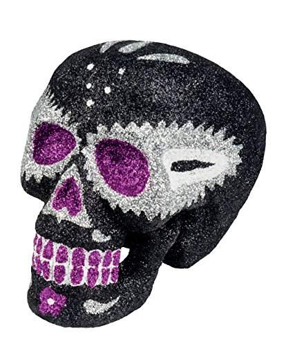 Dekoration Totenkopf Glitter Sugar Skull weiß ()
