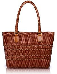 APHISONUK Designer Cow Leather Ladies Handbags, Hand Made Tote Bags Brown Large Handbags For Women