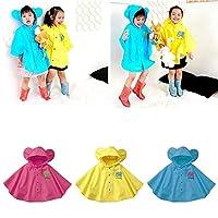 Lai-LYQ 1-8 Years Cute Big Ear Waterproof Button Closure Kid Raincoat Children Rain Cape - Yellow M