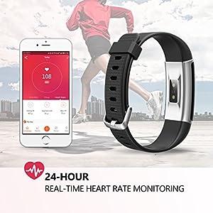 Vigorun Fitness Tracker, Rastreador de Actividad de Pantalla Colorida con Monitor de Ritmo Cardíaco,Smart Podómetro,SMS/SNS Alerta,Calorías Contador de Pasos, para iOS y Android (Negro)