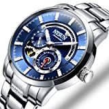 Binger Luminous Relogio Masculino Stainless Steel Automatic Mechanical Watch for Men - N9813-Blue