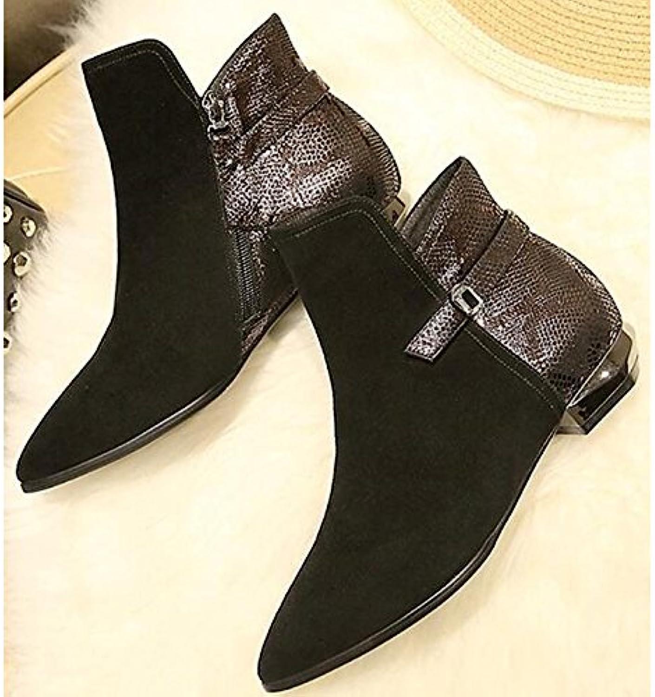 ZHZNVX HSXZ Zapatos de Mujer Cuero auténtico Cuero de Nubuck Primavera Otoño Comodidad Moda Bloque Botas Botas...