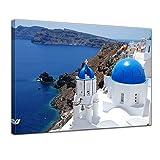 Bilderdepot24 Kunstdruck - Santorini - Griechenland II - Bild auf Leinwand - 70 x 50 cm - Leinwandbilder - Bilder als Leinwanddruck - Wandbild Städte & Kulturen - Europa - Mittelmeer