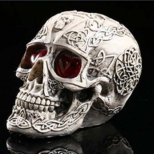Horror Kreativ Komisch Requisiten Schädel Statue Figürchen Skeleton Kopf Halloween Dekoration Partei Versorgungsmaterial (Lebensgroße Halloween Requisiten)
