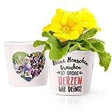Tagesmutter Geschenk Blumentopf (ø16cm) | zum Danke sagen Erzieherin im Kindergarten mit Rahmen für zwei Fotos (10x15cm) | Kleine Menschen brauchen so große Herzen wie Deins!