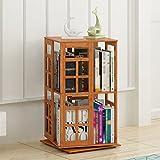 QIANGDA Drehbar Bücherregal Bambus Bücherschrank Nacht Bücherregal Abstand Einstellbar Gebrauchsgut, 2 Ebenen / 3 Ebenen Wahlweise (größe : 36 x 36 x 67cm)