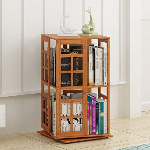 QIANGDA Drehbar Bücherregal Bambus Bücherschrank Nacht Bücherregal Abstand Einstellbar Gebrauchsgut, 2 Ebenen / 3 Ebenen Wahlweise (größe : 36 x 36 x 67cm) -