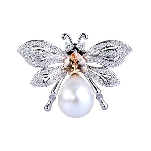 EVER FAITH® Femme Cubic Zirconia Perle Artificielle Abeille Adorable Broche Pin Ton Argent Couleur Topaze
