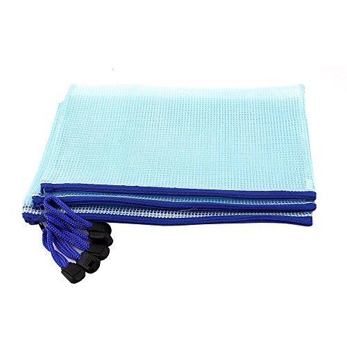 SODIAL(R) PVC-Gewebe Leitungsrohr ID A5 Dokumenten-Tasche, Beutel 5 Stueck, hellblau (Taschen Reißverschluss Mit 5)