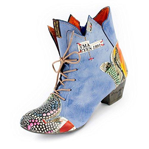 TMA SEELENlook Damen Stiefeletten, Echtleder, Königsblau, 38 EU (Cowboy Größe Damen Stiefel 7)