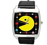 taport Pacman cuarzo cuadrado reloj correa de piel negro + Batería de repuesto libre + libre bolsa de regalo