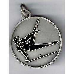5Médailles premiazione sportive–gymnastique–Fabrication artisanale mm 25laiton argenté émaillé–Fabriqué en Italie