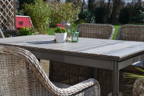 Gartenmöbel Set Como-6 Tisch ausziehbar Holzdekor mit 6 Sessel ...