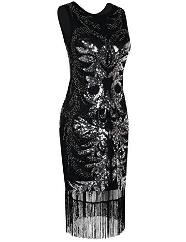 Kayamiya Damen 1920er Pailletten Perlen verschönert Fransen Midi Gatsby Flapper-Kleid Herrlich Schwarz