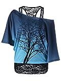 MILEEO Damen Spitze Transluzent Top Schulterfrei Fledermaus Kurzarm Oberteile Sommertop (Size EU XL/Asia 2XL) Farbe Blau