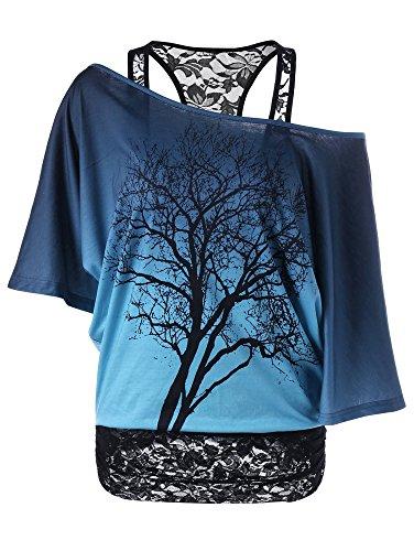 MILEEO Damen Spitze Transluzent Top Schulterfrei Fledermaus Kurzarm Oberteile Sommertop (Size EU S/Asia M) Farbe Blau (Damen T-shirt Schöne)