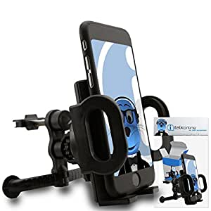 "iTALKonline Asus Zenfone 2 SmartPhone (ZE551ML / ZE550ML - 2015 Model) 5.5"" Black Custom Dedicated In Car Spring Mount Clip Air Vent Holder (Case Compatible) Cradle"