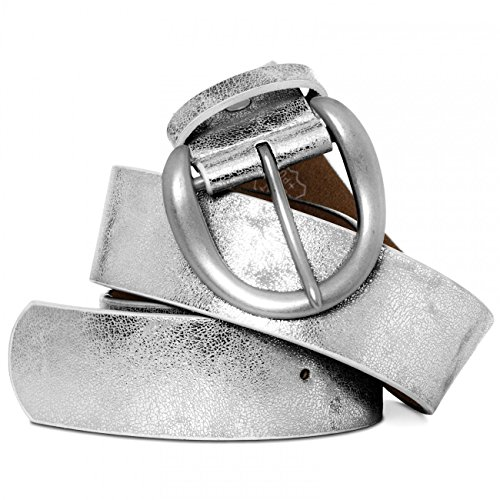CASPAR Damen breiter Vintage Gürtel / Jeansgürtel unifarben mit gebürsteter Metallschnalle Teil LEDER - viele Farben - GU274, Länge:85;Farbe:silber metallic
