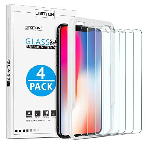 OMOTON [4 Stück] Panzerglas Schutzfolie für iPhone X und iPhone XS mit Positionierhilfe [9H Härte], [Anti-Kratzen], [Anti-Öl], [Anti-Bläschen].