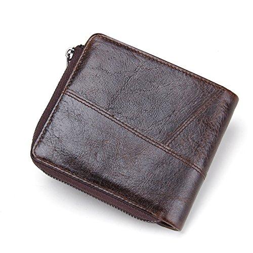 HIRAM Weinlese-echtes Leder Mens-Reißverschluss-Münzen-Taschen-Geldbeutel-Mappe dunkelbraun