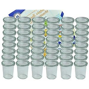 MamboCat 48er Set Weck Gläser 160 ml Sturzgläser mit 48 Glasdeckeln incl. Diamant-Zucker Gelierzauber Rezeptheft