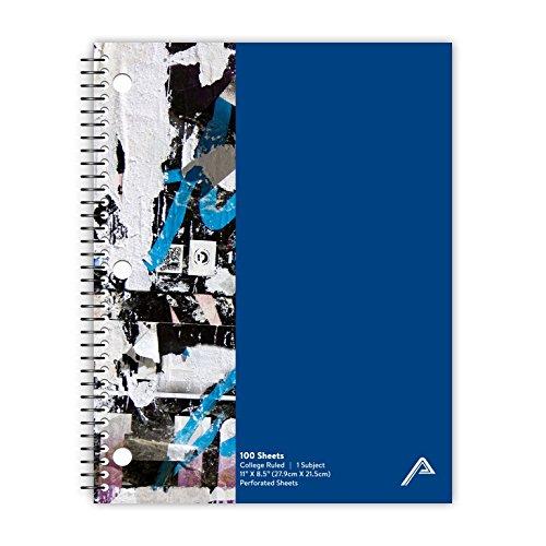 Viva Activa Creative College liniert Spiral Notebook, 1Thema, 100Seiten, 21,6x 27,9cm Graffiti Design 8.5W x 11L X 0.25H blau (Top-spirale Gebunden Notebook)
