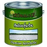 Grünwalder Betonfarbe Bodenfarbe premium Fassadenfarbehoch-elastische und hochlichtecht für den Innen- und Außenbereich (1 L, Betongrau (RAL 7023))