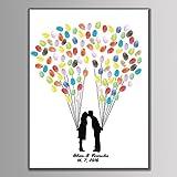 Love Luftballons Hochzeit Personalisierte Fingerabdruck Gemälde Leinwand Prints Tree Pattern Party Supplies (gehören 6Tinte DIY-Geschenk, 40x60cm For 140Guest, HK007