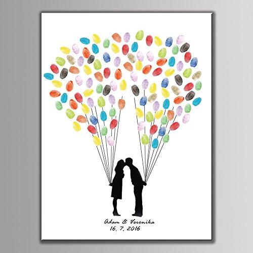 hzeit Personalisierte Fingerabdruck Gemälde Leinwand Prints Tree Pattern Party Supplies (gehören 6Tinte DIY-Geschenk, 40x60cm For 140Guest, HK007 (Personalisierte Party Supplies)