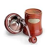 Macinacaffè manuale, in legno caffè con macina in ceramica Burr, grande capacità, in ghisa, manovella, portatile regolabile smerigliatrice di Underreef Brown
