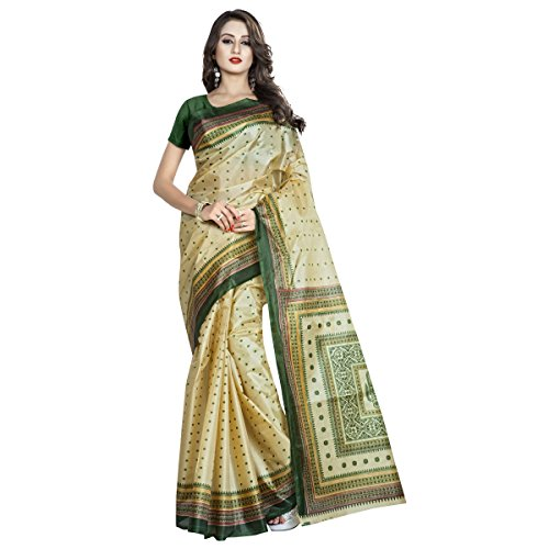 Triveni Womens Silk Printed Everyday Wear Beige Colour saree with Blouse -TSVDPJ11051