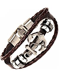 Under 499 Anchor Charm Leather Wrap Stylish Bracelet. Daily-Party-Casual Wear Fashion Jewellery by Hot And Bold.