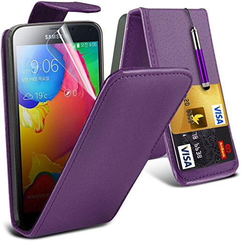 Samsung Galaxy S5 Neo hülle Tasche (Grün + Kopfhörer) Slim-Fit-Abdeckung für Samsung-Galaxie-S5 Neo-hülle Tasche Haltbarer S Linie Wellen-Gel-Kasten-Haut-Abdeckung + mit Aluminium Earbud Kopfhörer, Po Leather Flip + ( Purple )