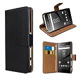 eFabrik Schutzhülle für Sony Xperia Z5 Premium - Tasche Schwarz Handy-Zubehör (Hülle nur für Xperia Z5 PREMIUM) Hülle Bookstyle Case Aufsteller Innenfächer Wallet