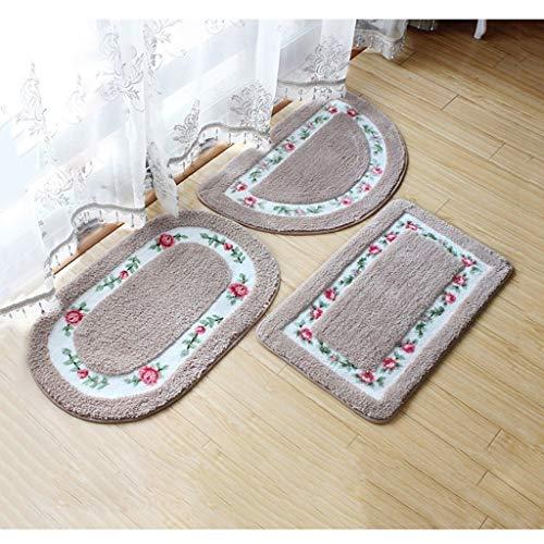 WYJW Moderne herzförmige Wohnzimmer rutschfeste Teppich, Hause Schlafzimmer DREI sätze von schönen rost Blume matten (Farbe: grau) - Rost Farbe, Teppiche
