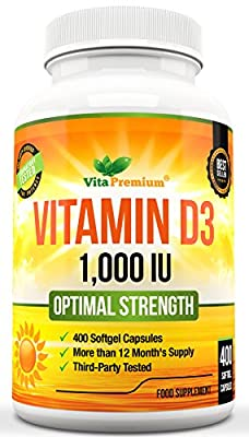 Vitamin D3 1000IU, 400 Softgels (Full Year Supply), Vitamin D Supplement, 3rd Party Certified from Vita Premium